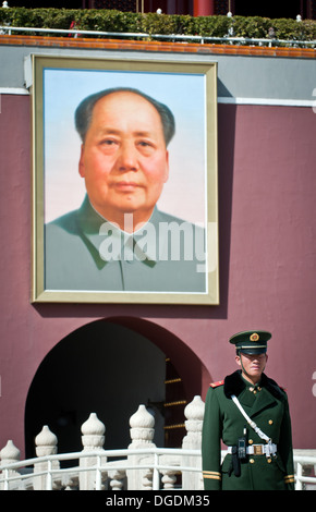 Chinese soldier in front of Tiananmen (Gate of Heavenly Peace) in Beijing, China - Stock Photo