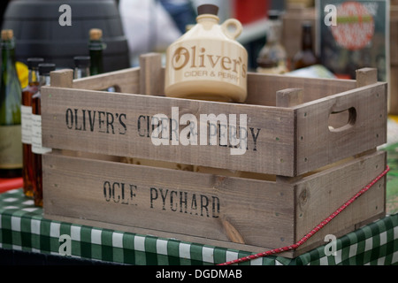 Wooden Create with Olivers Cider and Perry Flagon - Stock Photo