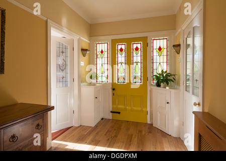 Front door with stained glass and hall stock photo for Domestic front doors