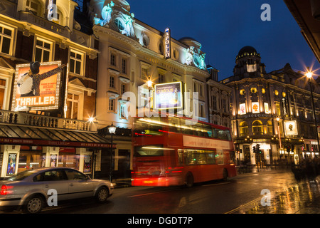 Shaftesbury Avenue West End theatres at night London - Stock Photo