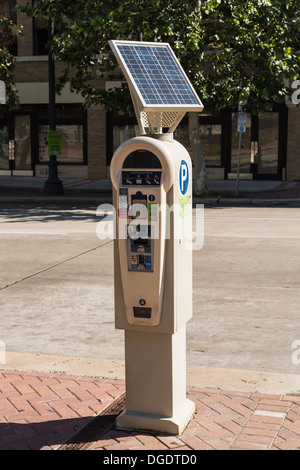 Solar powered parking meter - Stock Photo