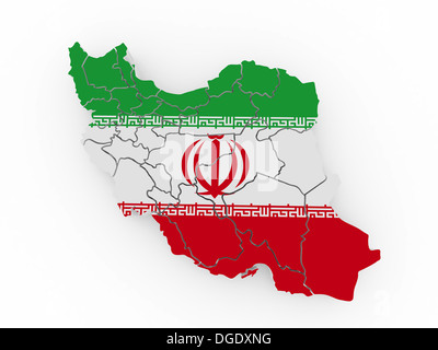 Map of Iran in Iranian flag colors. 3d - Stock Photo