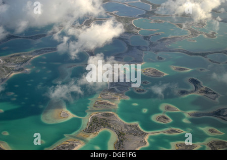 Aerial view of hypersaline lakes in Christmas Island (Kiritimati), Kiribati - Stock Photo