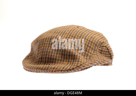 Wool tweed gentlemen's cap in brown color for winters isolated on a white background for clipping - Stock Photo