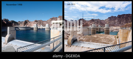 Lake Mead at the Hoover Dam showing the unprecedented low water levels in 2013 compared to 1998, Arizona/Nevada, - Stock Photo