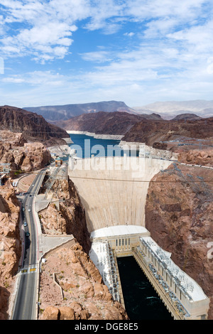 The Hoover Dam looking towards Lake Mead from the Mike O'Callaghan–Pat Tillman Memorial Bridge, Nevada / Arizona - Stock Photo