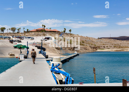 Callville Bay Resort and Marina looking towards restaurant on the hill, which used to be on waterfront, Lake Mead, - Stock Photo