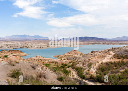 View over Lake Mead, Lake Mead National Recreation Area, Nevada, USA - much of the dry land used to be covered in - Stock Photo