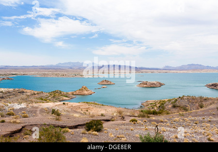 View over Lake Mead from Sunset View Overlook, Nevada, USA - much of the dry land used to be covered in water - Stock Photo