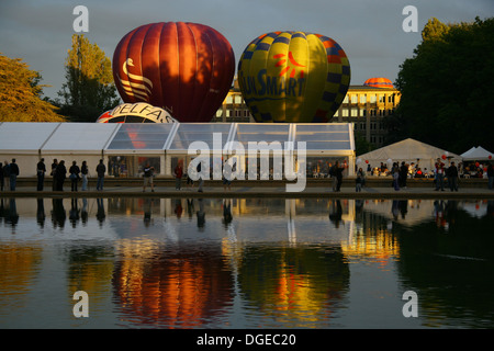 Early morning at the Canberra Balloon Festival - Stock Photo