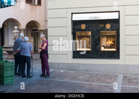 Boutique Cartier Lugano, Canton Ticino, Switzerland - Stock Photo