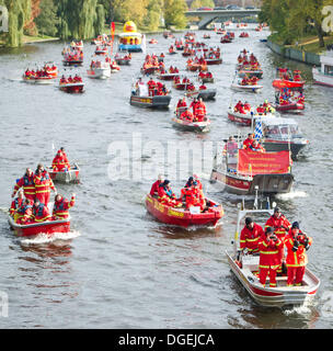 Berlin, Germany. 19th Oct, 2013. Around 180 DLRG motor lifeboats gather for a demonstration against baths closures - Stock Photo