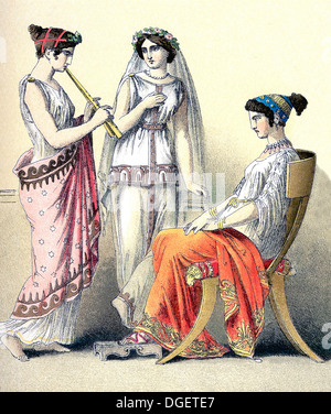 The figures illustrate Greek women, from left to right: flute-player and two women of the upper classes. - Stock Photo