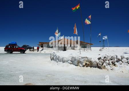 Salt hotel in the Uyuni salt desert called Salar de Uyuni, near Uyuni, Bolivia - Stock Photo