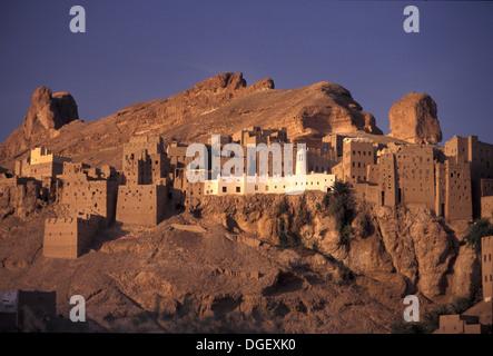 Al- Hajjarayn or  Al-Hajrayn or  Al-Hajrain  at sunset in Wadi Hajjarayn, Wadi Doan Yemen - Stock Photo