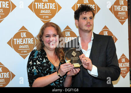 London UK, 20th Oct 2013 : Jessica Beck and David Lockwood are seen with there award for 'My Theater Matters! UK's - Stock Photo