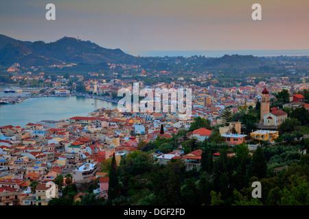 Zakynthos Town from Bocholi, Zakynthos (Zante), Greece - Stock Photo