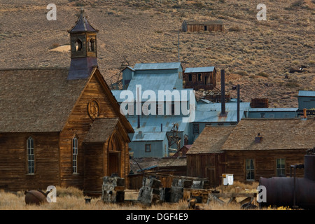 Methodist Church and Stamp Mill, Bodie State Historic Park, Mono County, California - Stock Photo