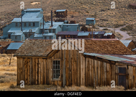 Stamp Mill and wooden house, Bodie State Historic Park, Mono County, California - Stock Photo