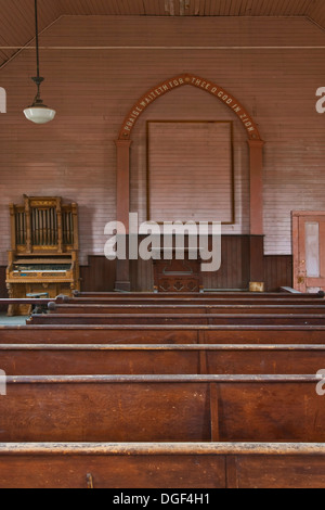 Interior of Methodist Church, Bodie State Historic Park, Mono County, California - Stock Photo