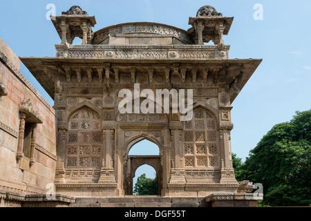 Beautiful East Gate, Jami Masjid mosque, Champaner-Pavagadh Archaeological Park, Gujurat, India - Stock Photo