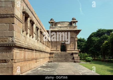 East Gate, Jami Masjid mosque, Champaner-Pavagadh Archaeological Park, Gujurat, India - Stock Photo