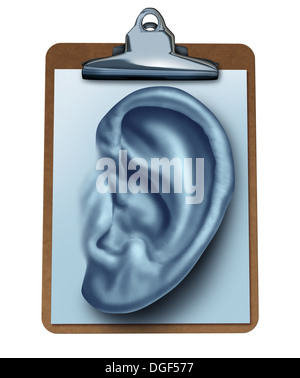 Customer Survey business concept as an office clipboard with a note paper in the shape of a human ear as a metaphor - Stock Photo