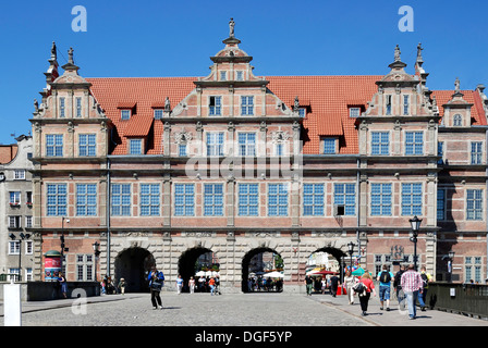 Historic Old Town of Gdansk with the Greens gate at the Long Market. - Stock Photo