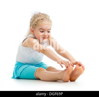 child girl doing fitness exercises - Stock Photo