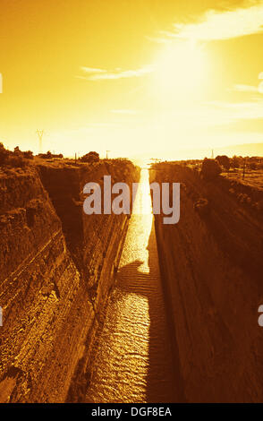 Corinth Canal. Connecting the Gulf of Corinth with the Saronic Gulf in the Aegean Sea. The canal was built between - Stock Photo