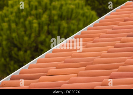 Detail shot of clean and new roof tiles - Stock Photo