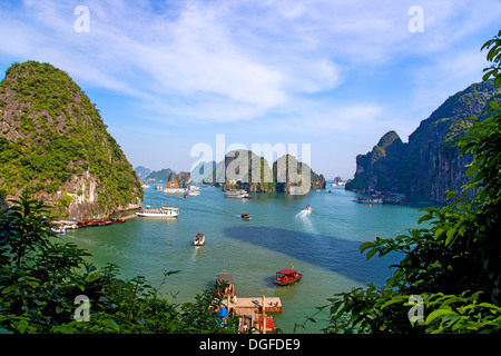 A view of Ha Long Bay in Vietnam - Stock Photo