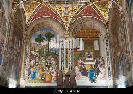 Historic paintings and frescoes in the Piccolomini Library, Siena Cathedral, Cattedrale di Santa Maria Assunta, - Stock Photo