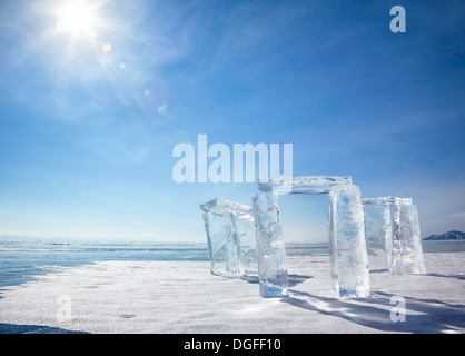 Icehange - stonehenge made from ice on lake Baikal in Sineria under winter Sun - Stock Photo