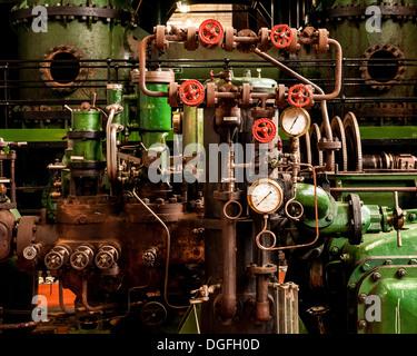 Kempton Park Waterworks, Kempton Park, United Kingdom. Architect: unknown, 1929. Pipes and valves. - Stock Photo