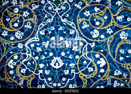 tiled background, oriental ornaments from Isfahan Mosque, Iran - Stock Photo