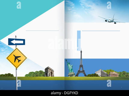 Travel Booklet Template Featuring Famous Places Around The World