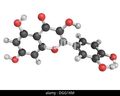 Chemical structure of a quercetin flavonoid molecule. Quercetin is a flavonoid compound found in many plants. - Stock Photo