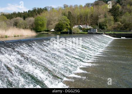 Lopwell Dam on the River Tavy near Plymouth, devon - Stock Photo