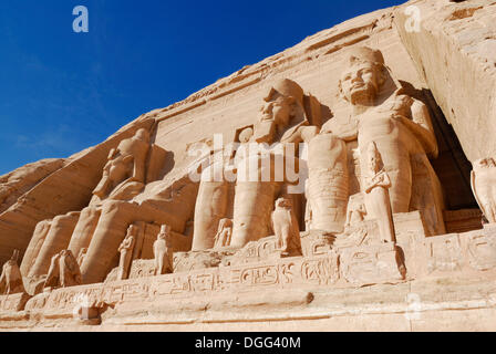 Statues in the Great Temple of Ramses II, Abu Simbel, Nubia, Egypt, Africa - Stock Photo