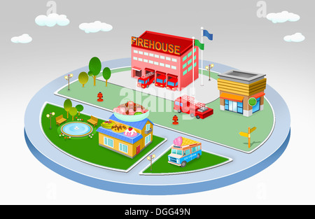 an illustration of a living area on a circle - Stock Photo