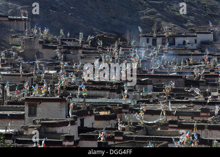 View from the Palcho Monastery or Pelkor Chode Monastery on the historic town of Gyantse, Tibet, China, Asia - Stock Photo