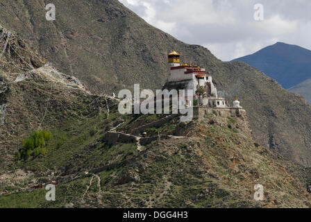 Yumbulagang Fortress, first and oldest fortress of Tibet, Yarlung Valley, Tsetang, Tibet, China, Asia - Stock Photo