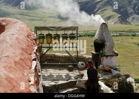 Prayer wheels, Yumbulagang Fortress, first and oldest fortress of Tibet, Yarlung Valley, Tsetang, Tibet, China, - Stock Photo