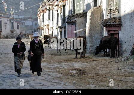 Tibetan women in the old town of Gyantse, Gyangze, Tibet, China, Asia - Stock Photo