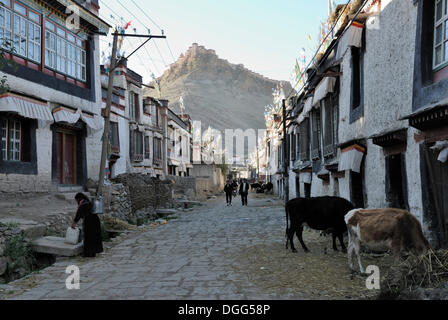 Alley in the old town of Gyantse with a view of the Dzong, Gyantse, Gyangze, Tibet, China, Asia - Stock Photo