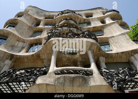 Balconies, facade of Casa Milà, La Pedrera, architect Antoni Gaudi, Passeig de Gracia, Eixample, Barcelona, Catalonia, - Stock Photo