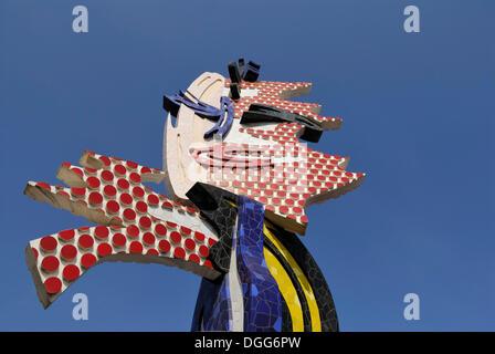 El Cap de Barcelona, Barcelona head, pop-art sculpture by Roy Lichtenstein, Barcelona, Catalonia, Spain, Europe, - Stock Photo