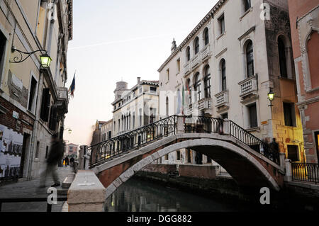 Bridge over the canal Rio de Santa Margarita, Dorsoduro quarter, Venice, Venezia, Veneto, Italy, Europe - Stock Photo