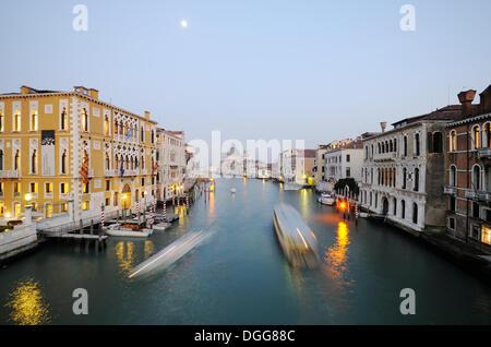 View from the Accademia Bridge, Ponte dell' Accademia, on Canal Grande, Grand Canal, Palazzo Cavalli-Franchetti - Stock Photo